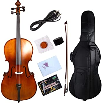 Yinfente Violonchelo eléctrico 4/4 de madera maciza de abeto de arce de ébano accesorios de sonido dulce con lazo para bolsa de violonchelo: Amazon.es: Instrumentos musicales