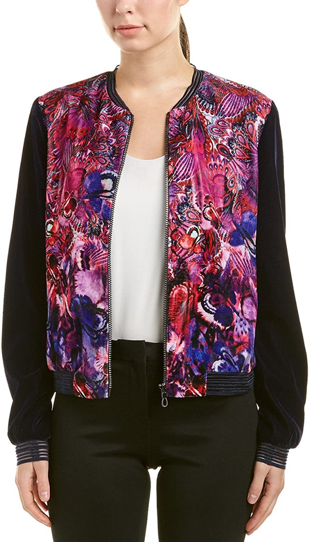 T Tahari Womens Fatima Velvet Floral Print Bomber Jacket