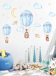 SKEIDO Animals in Hot Air Balloons Wall Decals Kids Wall Stickers Childrens Bedroom Nursery Baby Room Decor