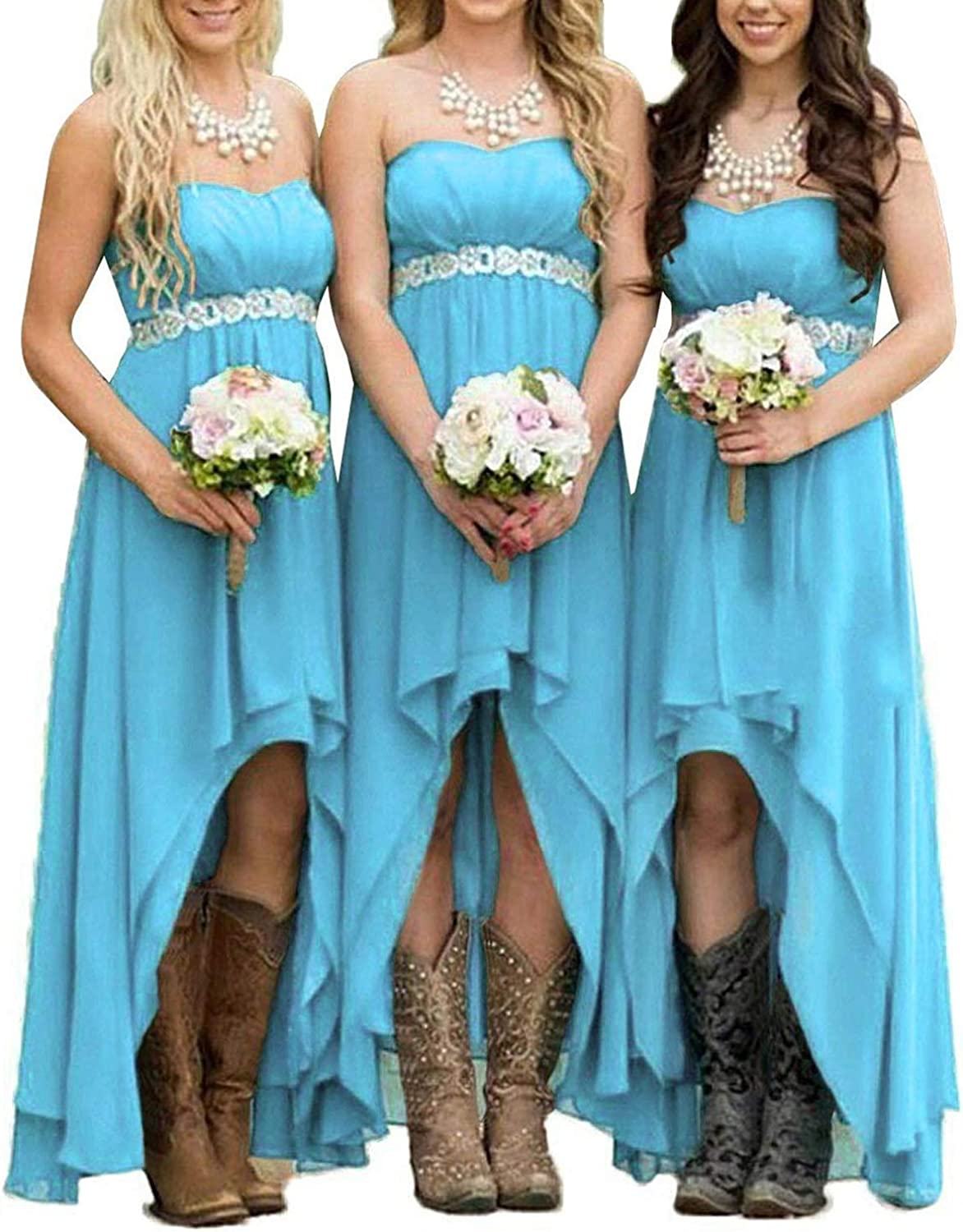 Buy EUMI Chiffon Bridesmaid Dresses High Low Strapless Country ...
