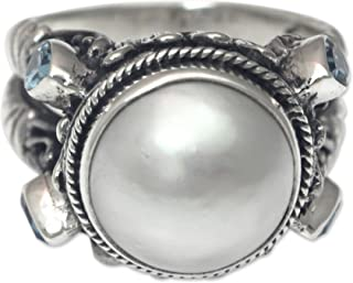 Blue Topaz Cultured Mabe Pearl .925 Sterling Silver Ring, Joyful Moon'