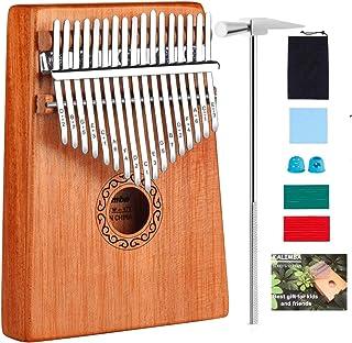 Kalimba 17 Clés Pouce Piano, Acajou Naturel 17 touches Africain Marimba Sanza Mbira avec Accordeur Sac de piano Manuel d'é...