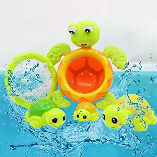 Cocity 4pcs Baby Bath Toys Turtle Wind Up Toys Bathing Water Toys Swimming Tub Bathtub Pool Cute Swimming for Boys Girls K...