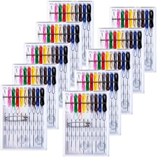 SoFire 10 Boxes Home and Travel Quick Fix Sewing Kit Pre Threaded Needle Kit, Each Box with 10 Pieces
