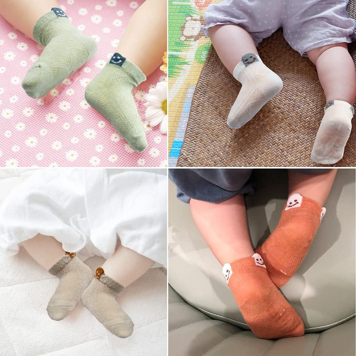 Toddler Socks 5 Pairs Non Slip Ankle Socks for Newborn Baby Girls Boys Infant 0-12 Months/1T-3T/3T-5T Years Old Kids