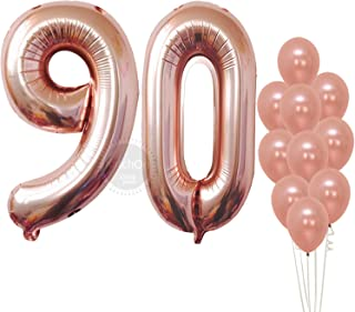 Rose Gold Number 90 Balloons – Giant, Pack of 12 | 90th Birthday Balloons Party Decorations Supplies Kit | Number 9 and 0 Balloons | foil Mylar and Latex Balloons | Ninety Year Old