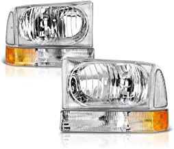 VIPMOTOZ Chrome Housing Headlight & Clear Turn Signal Corner Lamp Assembly Set For 1999-2004 Ford Superduty F-250 F-350 Pickup Truck & Excursion, Driver & Passenger Side