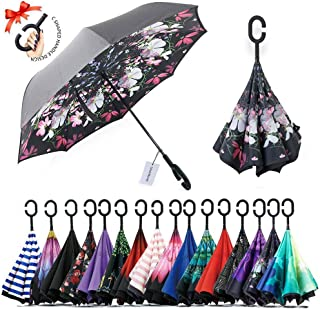UmbWorld Inverted Umbrella, Double Layer Upside Down Reverse Umbrella for Car and Outdoor, with UV Protection, and C-Shaped Handle Big Straight Umbrella