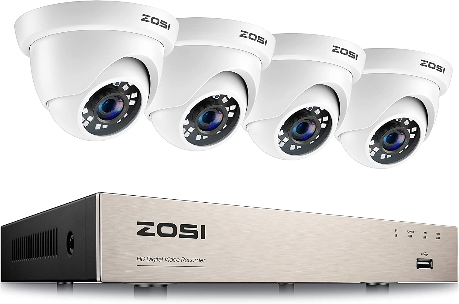 ZOSI 8CH 1080P H.265+ Home Security Camera System,5MP Lite 8 Channel CCTV DVR and 4pcs 1080P 1920TVL 2MP Outdoor Indoor Surveillance Dome Camera,80ft Night Vision,Motion Alerts,Remote Access(No HDD)