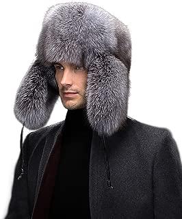 Men's Raccoon & Silver Indigo Fox Full Fur Russian Trooper Hat Caps