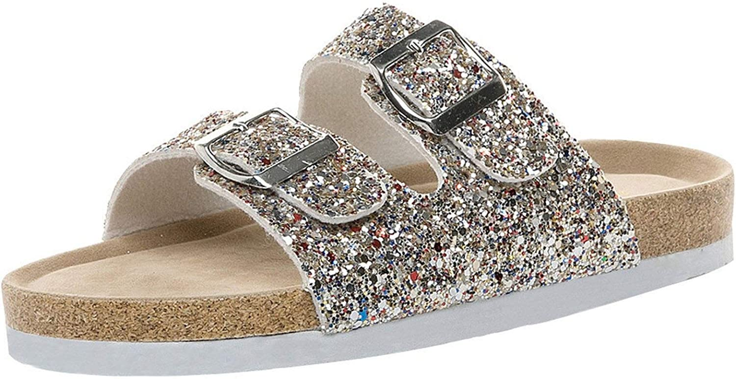 I'm good at you shoes Women Leather Flip Flops Womens Cross Toe Double Buckle Strap Cork Sequined Beach shoes women