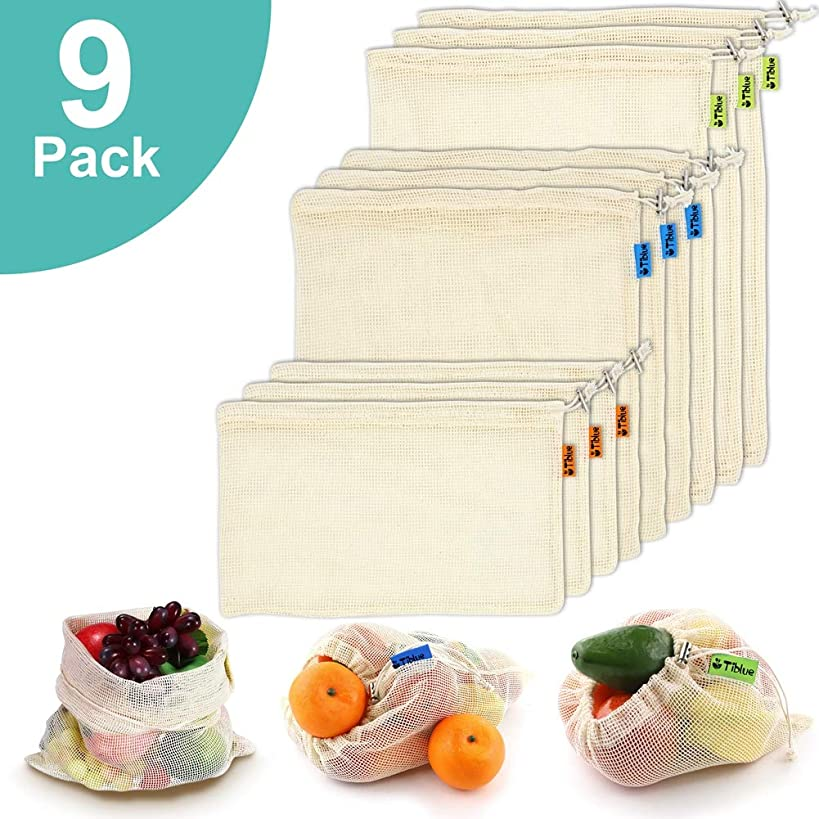 Reusable Produce Bags, Organic Cotton Mesh Bags for Grocery Shopping and Storage with Tare Weight on Tags, Double-Stitched Seams, Machine Washable, Biodegradable, Eco-Friendly, Set of 9 (3S+3M+3L)