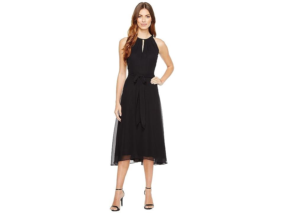 Tahari by ASL Chiffon Tea-Length Keyhole Neck Dress (Black) Women