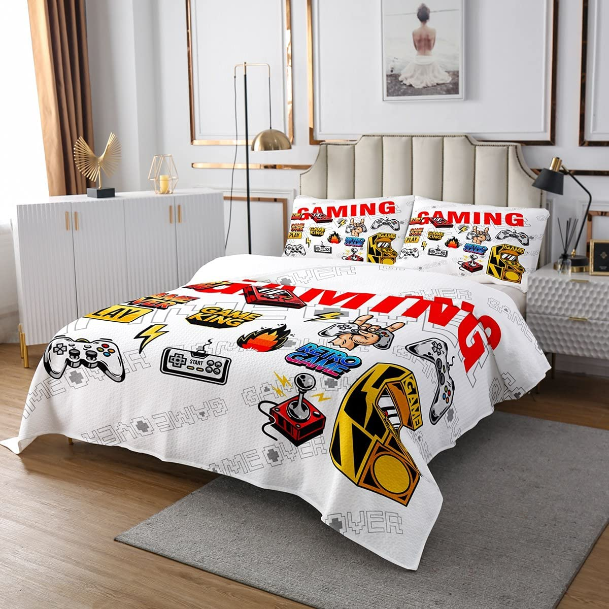 Gameing Super popular specialty store Quilted Coverlet Set Gamer Sale Boys Kids Bedspread Game for