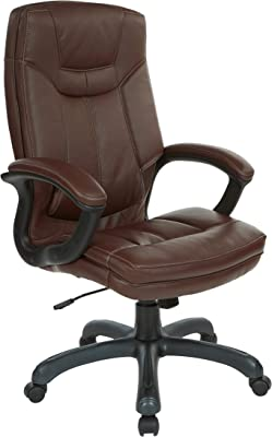 Office Star Bonded Leather Seat and High Back Executive's Chair with Padded Arms and Contrast Stitching, Chocolate