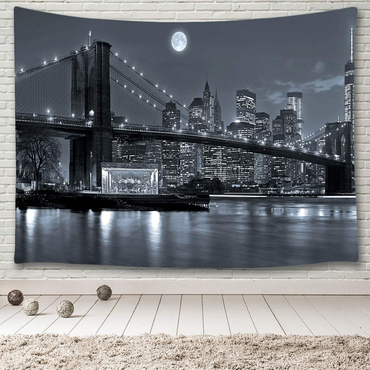 MINAKO New York City Max 55% OFF Skyline Brid Shipping included Tapestry Hanging Wall Brooklyn