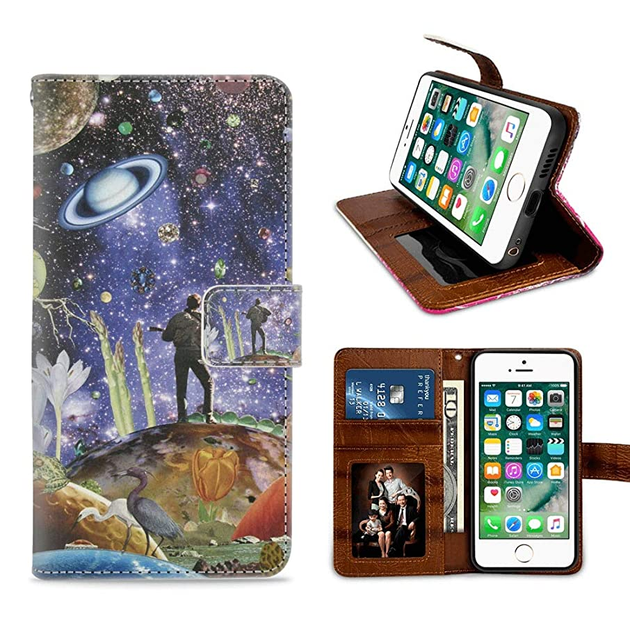 Starry Sky Man Sing Guitar Flip Wallet Case for iPhone 6 6S Plus Leather Case with Kickstand PU Leather Wallet Case Stand Folio Cover Case for iPhone 6 6S Plus