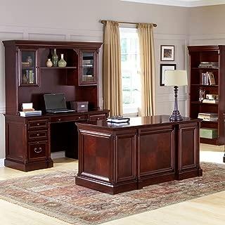 Kathy Ireland Mount View Four Piece Executive Office Set Cobblestone Cherry includes an executive desk, credenza w/hutch & bookcase