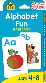 School Zone - Alphabet Fun Flash Cards - Ages 4 to 6, Preschool to Kindergarten, ABCs, Uppercase and Lowercase Letters, Spelling, and More