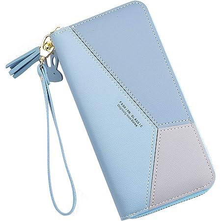 Yixuan Carteras de Mujer Monederos de Gran Capacidad de Cuero Bolsos de Mujer con Cremallera de Bolsillo Monedero de Mujer Carteras Larga Teléfono Billetera con Colgante de Borlas (Azul1)