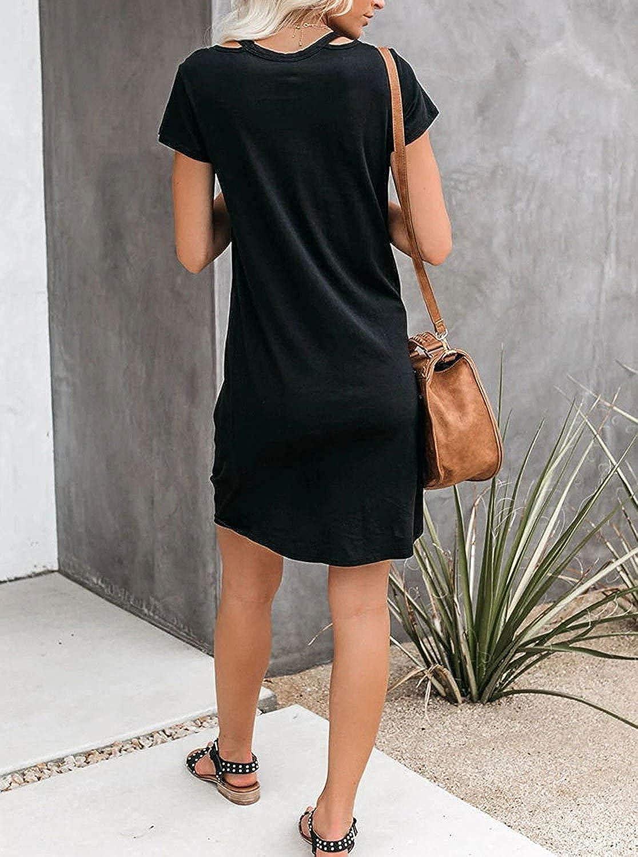 HARHAY Women's V Neck Casual Short Sleeve Knee Length Knot Twist Beach Cover Up Loungewear Dress