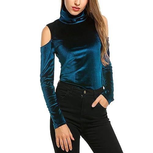 5b81380c8cce Zeagoo Women's Velvet Cold Shoulder Turtleneck Pullover Tops Shirt