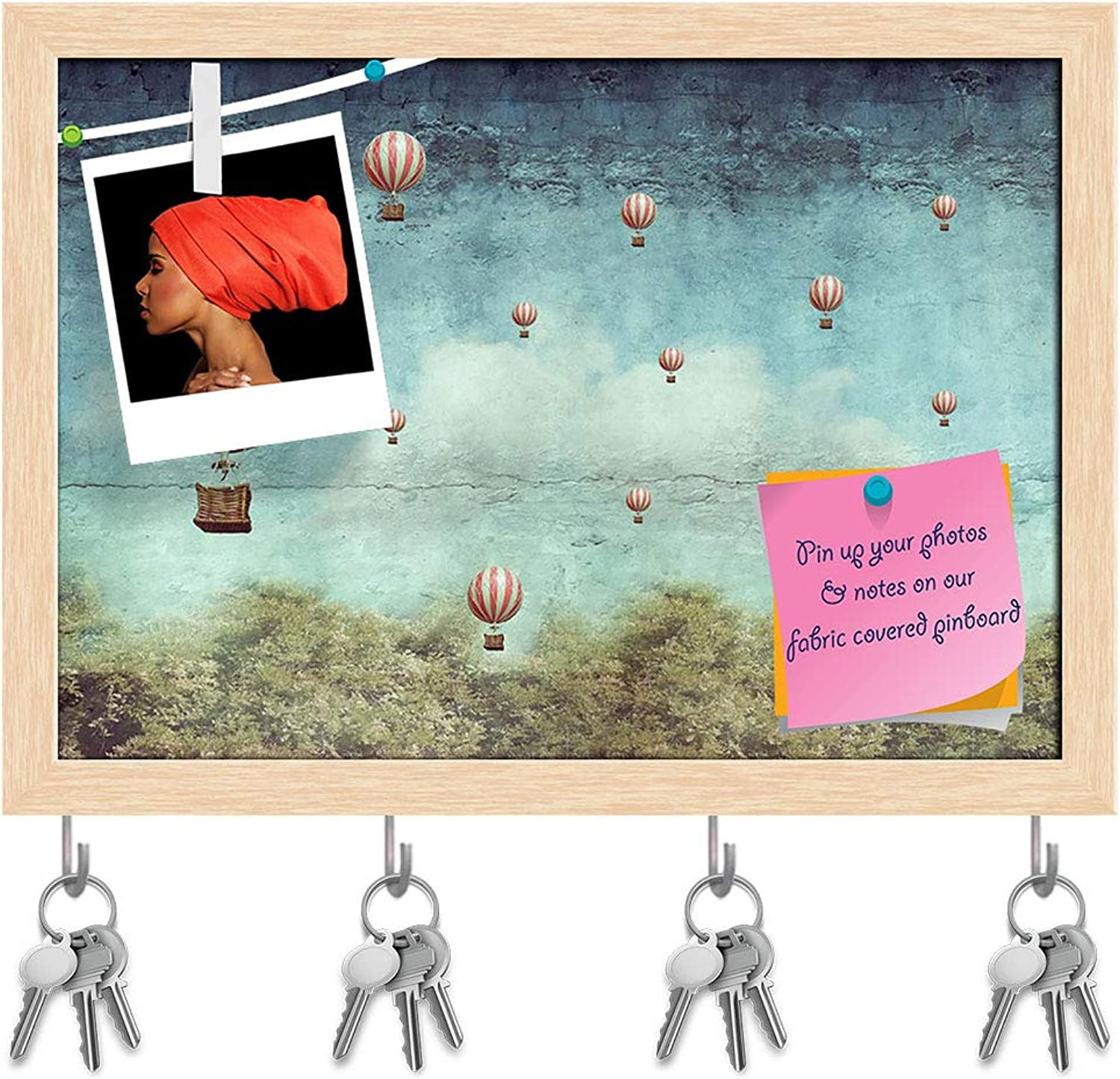 Artzfolio Hot Air Balloons Flying Over A Forest Key Holder Hooks   Notice Pin Board   Natural Brown Frame 8.2 X 6Inch