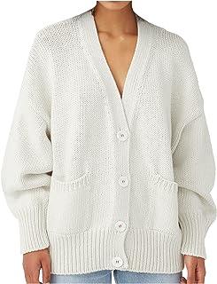 Darringls Gebreid vest voor dames, lange mouwen, met knopen, vlechtpatroon, grof gebreid, cardigan, elegante V-hals, gebre...