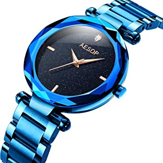 Aesop Luxury Starry Sky Full Stars Watches for Women on Sale Clearance, Elegant Rose Gold/Purple/Blue/Black Wrist Watches for Ladies, Waterproof Luminous Watch with Import Analog MIYOTA Movement