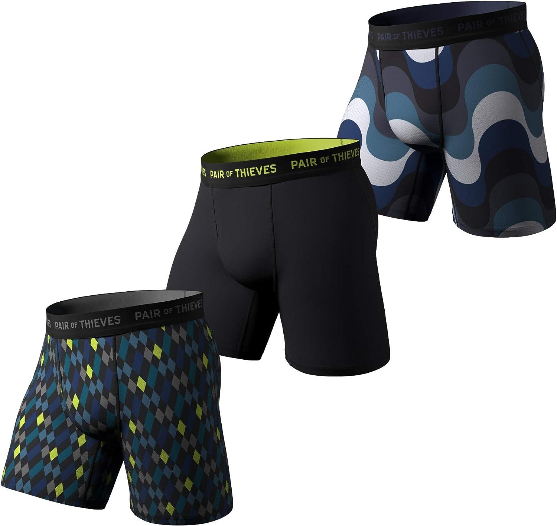 Pair of Thieves Super Fit Men's Long Boxer Briefs, 3 Pack Underwear, AMZ Exclusive