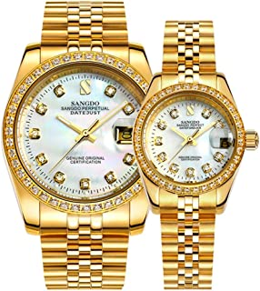 Full Gold Couple Watches Automatic Mechanical Gilded Steel Self-Wind Sapphire Glass Dress Watches Gift Set of 2