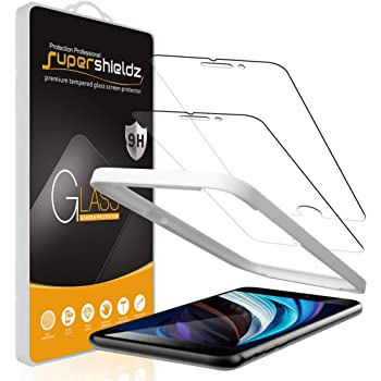 (2 Pack) Supershieldz for Apple iPhone SE (2020, 2nd Generation), iPhone 8 and iPhone 7 (4.7 inch) Tempered Glass Screen Protector with (Easy Installation Tray) Anti Scratch, Bubble Free