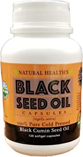 Pure Cold Pressed Black Cumin Seed Oil 500mg - 120 Capsules - Supplement Pills to Support Healthy Blood Sugar, Blood Pressure, Cholosterol, Healthy Skin & Hair - Non GMO & USDA Organic