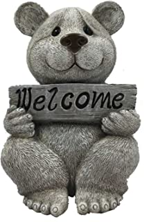 Pudgy Pals Roman Garden Figure, 92464, Bear with Welcome Sign, 7.5 Inches