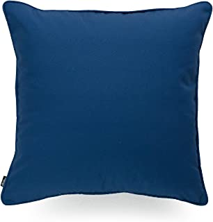 Hofdeco Indoor Outdoor Cushion Cover ONLY, Water Resistant for Patio Lounge Sofa, Navy Blue White Solid, 45cmx45cm