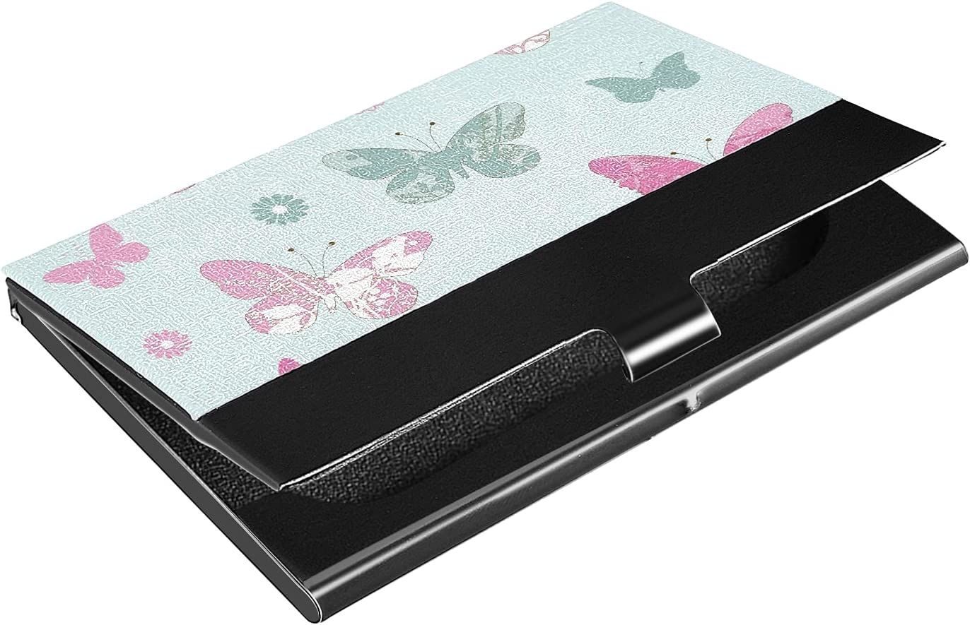 OTVEE 2021new shipping free Butterflies and Flowers Business Wallet Stainl Card Very popular Holder