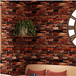 Yancorp Self-Adhesive Wallpaper Rust Red Brown Brick Contact Paper Fireplace Peel-Stick Wall Stickers Door Stickers Counter Top Liners (18