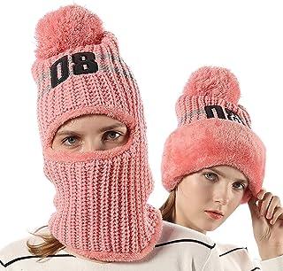 cb50f86dd4f69 FLY HAWK Women Girls Knit Beanie Mask Balaclava Hat Winter Warm Outdoor Ski  Cycling Cap