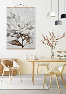 Large Framed Canvas Prints Wall Art for Home, Vintage Brown Color Flower Oil Paintings, 3D Hand Painted Modern Floral Pictures for Living Room, Bedroom, Wooden Stretched Ready to Hang 32x48 inch