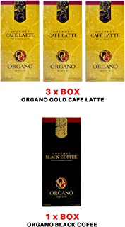 Organo Gold Combo Pack 3 Box Cafe Latte And 1 Box Black Coffee 100% Cetified Organic Gourmet Coffee