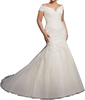 Off Shoulder Mermaid Lace Bridal Wedding Dresses Plus Size Bride M3234
