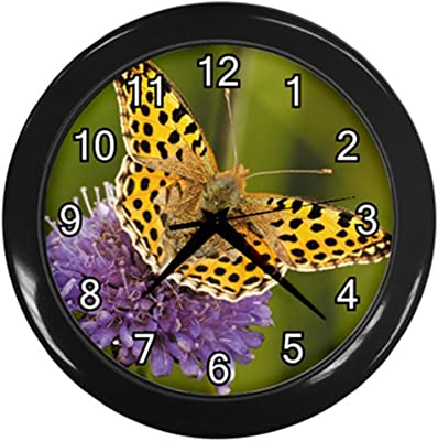 Butterfly with Purple Flower Black Frame Novelty Animal Wall Clock