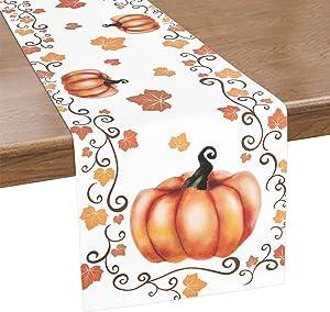ASPMIZ Thanksgiving Table Runner, Autumn Pumpkin Table Runner for Dinner, Farmhouse Style Fall Leaves Table Runner for Kitchen, Dinner Holiday Parties Decor, Thanksgiving Decor, 14 X 70 Inch