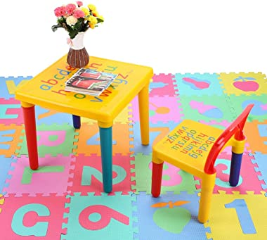 Children Table Chair Sets, 2 Piece Plastic DIY Kids Table Chairs Set Early Education Play Childs Activity Fun Child Toy,17.7