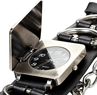 Avaner Punk Gothic Rock Oversize Chain Cross Black Leather Belt Cuff Bracelet Analog Quartz Wrist Watch