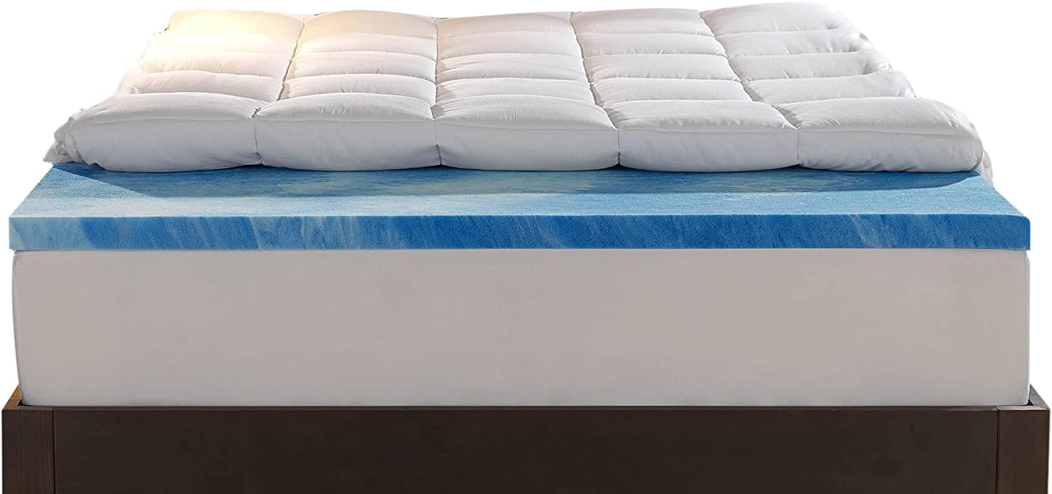 Sleep Innovations Gel Memory Foam 4-inch Dual Layer Mattress Topper, Made in The USA with a 10-Year Warranty - Twin Size