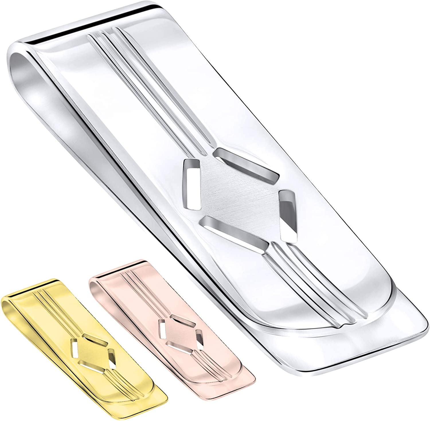 Designed and Made In Italy Sterling Silver .925 Money Clip Engravable Solid Design By Sterling Manufacturers