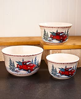 Set of 3 Vintage Country Bowls with Christmas Tree Illustrations