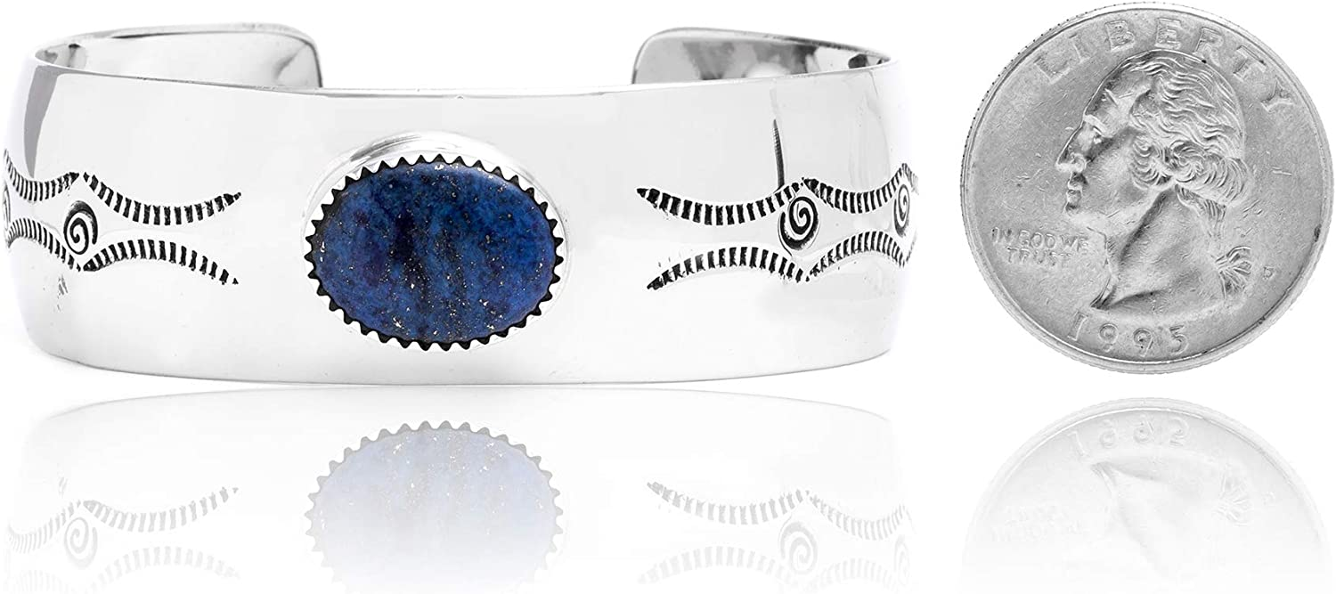 $240Tag Maze Natural Lapis Nickel Certified Navajo Native Cuff Bracelet 13141-1 Made by Loma Siiva