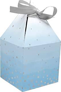 Creative Converting Celebration Favour Boxes Foil with Ribbons 8-Pieces, Blue and Silver